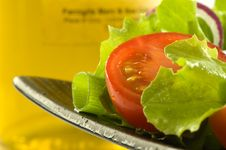 Healthy Fresh Salad On Background With Olive Oil Stock Photography