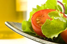 Healthy Fresh Salad With Olive Oil Stock Photo