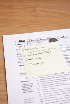 Free Uncle Sam Note On Desk Stock Photos - 8343133