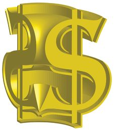 Free Dollar Sign Gold 3D Royalty Free Stock Images - 8344159