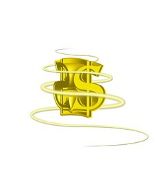 Free Dollar Sign Gold 3D With Swirl Stock Photography - 8344232