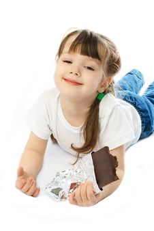 Free Little Girl Eating Chocolate Royalty Free Stock Photos - 8344348