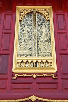 Gold Thai Art Window. Royalty Free Stock Photo