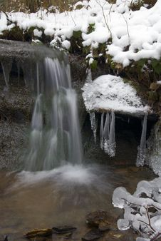 Free Frozen Creek And Icicles Royalty Free Stock Photo - 8346275
