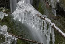 Frozen Creek And Icicles Royalty Free Stock Images