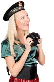 Blond Marine Girl With Camera Royalty Free Stock Photo