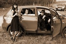 Free Man And Womans In Car Stock Photos - 8347723