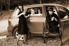 Free Man And Womans In Car Royalty Free Stock Photo - 8348005