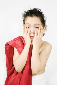Free Boy With The Red Towel Stock Photography - 8348032