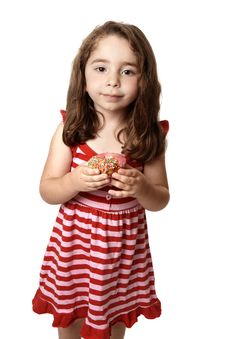 Free Beautiful  Girl With Sweet Doughnut Royalty Free Stock Photography - 8349877