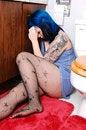 Free Sad Girl In Washroom. Royalty Free Stock Images - 8354849