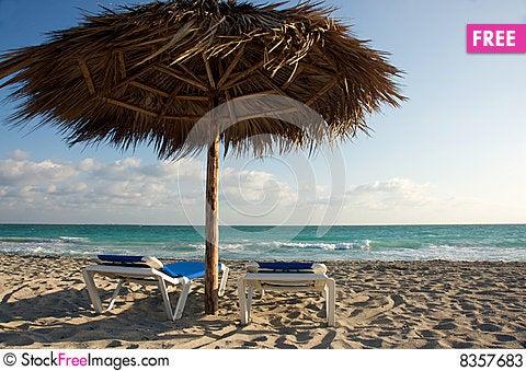 Free Beach Chairs And Shade Cabana Stock Photos - 8357683