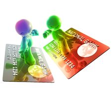Surfing On A Credit Card Royalty Free Stock Photo