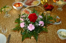 Free Flower Decoration On Holiday Table. Stock Images - 8352064