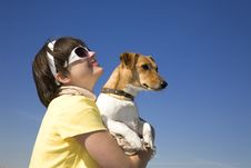 Free Woman With Pet In Your Hands Royalty Free Stock Photos - 8352468