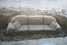 Free Sofa In The Sand Stock Photography - 8352702