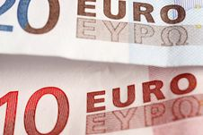 DETAIL OF A  EURO BANKNOTE Royalty Free Stock Photo