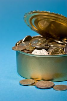 Free Tin With Coins Stock Photography - 8353362