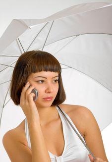 Free Conversation Under The Umbrella Stock Images - 8354124