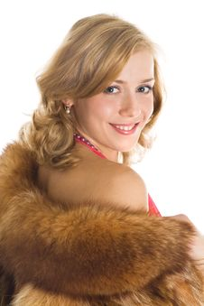 Free Beautiful Girl In A Fur Coat Royalty Free Stock Photography - 8354977
