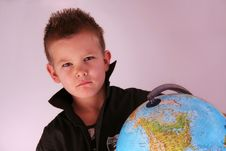 Free Boy With Globe Royalty Free Stock Image - 8355006