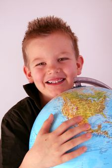 Free Boy With Globe Stock Photography - 8355252