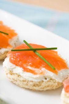 Salmon Mini Sandwich Stock Image