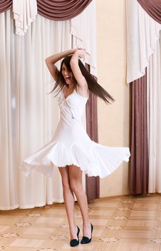 Happy Girl Spinning In A Room Stock Images