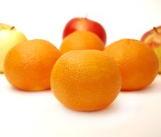 Free Four Mandarines And Three Apples Royalty Free Stock Photo - 8357025