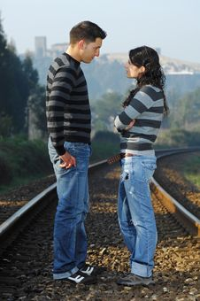 Free Standind On Railway Tracks Stock Photography - 8357272
