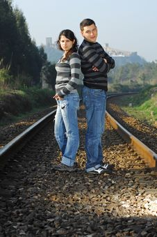 Free Standind On Railway Tracks Royalty Free Stock Photo - 8357275