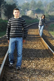 Free Walking On Railway Tracks Royalty Free Stock Photography - 8357347