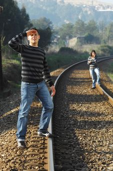 Free Walking On Railway Tracks Stock Photos - 8357363