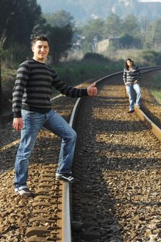 Free Walking On Railway Tracks Royalty Free Stock Photo - 8357365