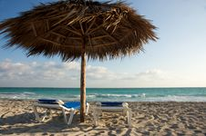 Free Beach Chairs And Shade Cabana Stock Photos - 8357683