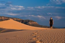 Hiking Coral Pink Sand Dunes Stock Images