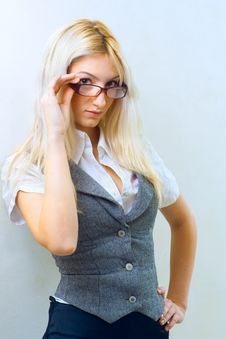 Beautiful Woman In Glasses Royalty Free Stock Images