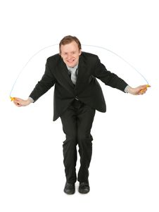 Free Businessman With  Jumping Rope Stock Photo - 8359360