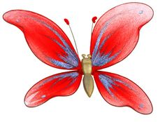 Beautiful Butterfly Toy Isolated On White Stock Image