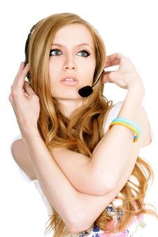 Free Lady With Headset Royalty Free Stock Photography - 8360117