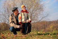 Free Grandfather And Grandson In Wood Stock Photos - 8360443