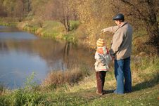 Free Grandfather With Grandson In Wood Look On Water Royalty Free Stock Photo - 8360495