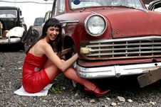 Free Girl At Retro Car Royalty Free Stock Photo - 8360535