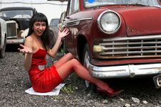 Free Girl Beside Car Royalty Free Stock Photos - 8360608