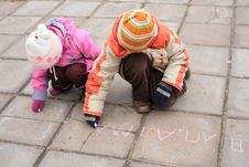 Free Two Children With Chalk On Road Royalty Free Stock Photo - 8360705