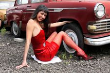 Free Girl Beside Retro Car Stock Image - 8360731