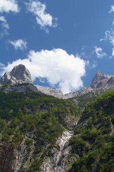 Scenery In Alpine Mountains Stock Photo