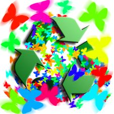Free Recycling Symbol With Butterflies Royalty Free Stock Photography - 8363347