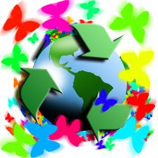 Free Recycling Symbol With Earth In The Center Stock Photos - 8363633