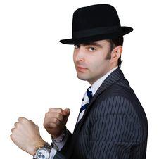 Free Boxing Retro Businessman Royalty Free Stock Image - 8364646